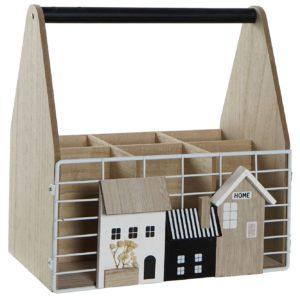 Botellero madera natural metal casas