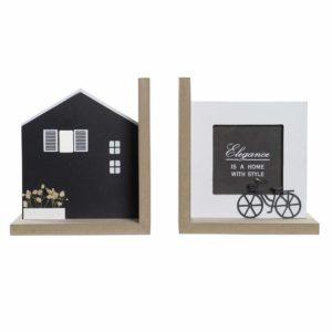 Sujetalibros portafoto madera casa