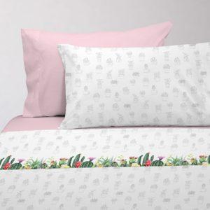 Juego de sábanas estampado cactus rosa