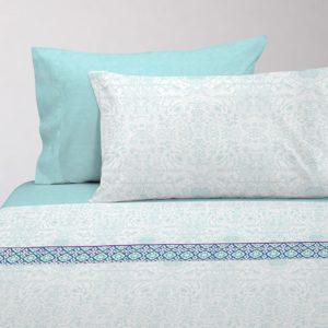 Juego de sábanas estampado azul cian