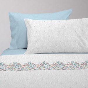 Juego de sábanas estampado indi azul