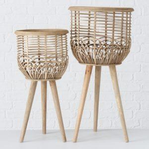 Macetero bambú con soporte 2 tamaños