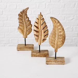 Figuras hojas madera mango