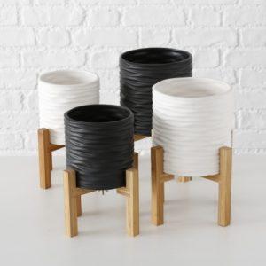 Macetero cerámica blanco negro soporte madera