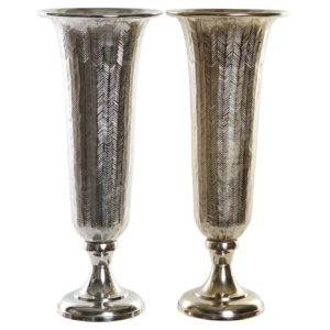 Jarrón aluminio dorado y plata 50 cm