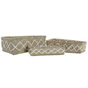 Cesta fibra rectangular algodón 3 tamaños