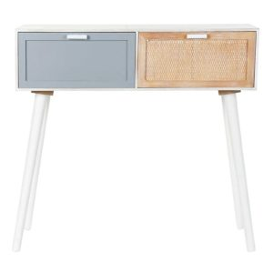 Consola madera natural blanco gris