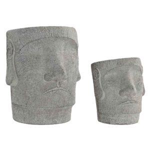 Macetero cemento moai gris 2 tamaños