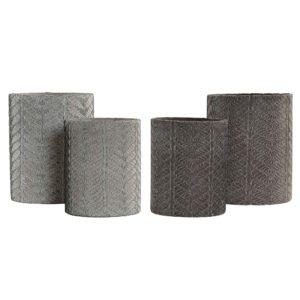 Macetero cemento grabado gris 2 tamaños