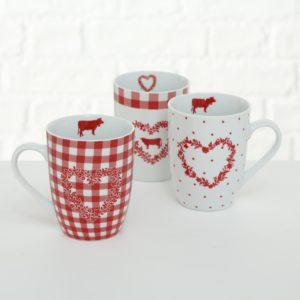 Taza Mug blanca roja corazones