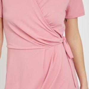 Vestido cruzado cuello pico rosa