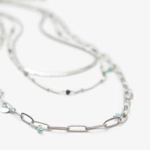 Collar cadenas plata piedras verdes