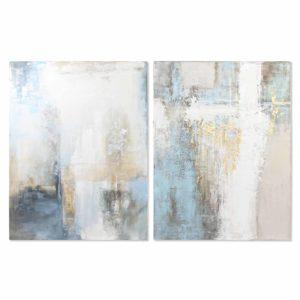 Cuadros lienzo abstracto blanco azul dorado