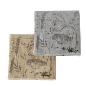 Servilletas papel flores beige gris