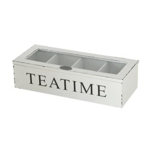 Caja de infusiones madera blanca