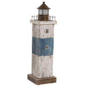 Faro madera azul envejecido con led