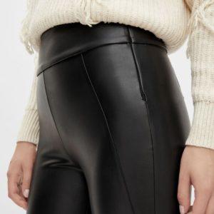 Leggings cropped piel sintética negro